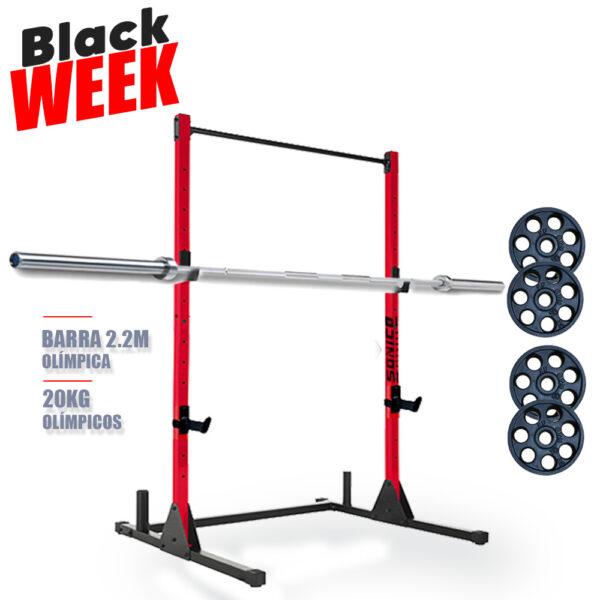 rack titan con barra y pesas soporte de sentadilla