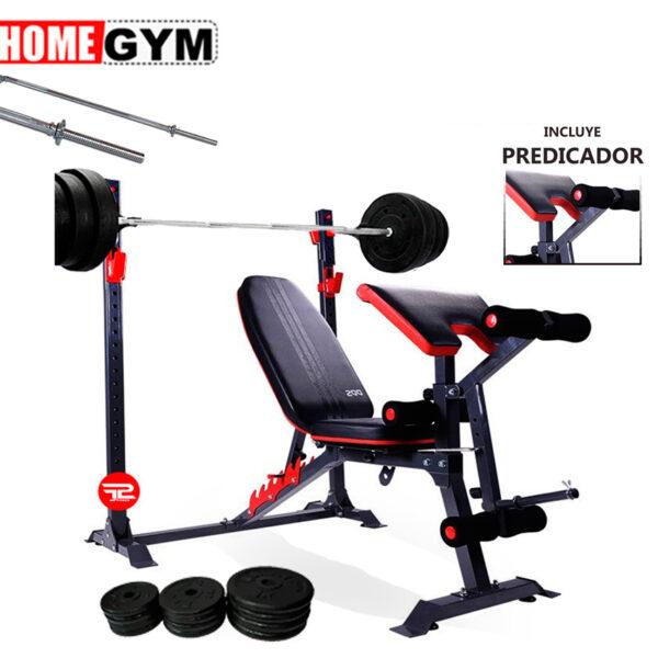 mini gimnasio banca titan con barra y pesas para pecho piernas y espalda en casa