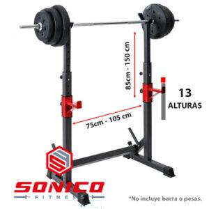 rack squat soporte ajustable de sentadilla y press medidas