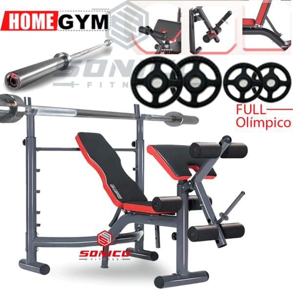 banca minigimnasio con barra olimpica y discos olimpicos gimnasio casero para entrenar en casa