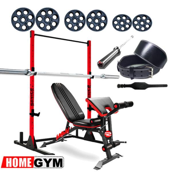 minigym minigimnasio en casa banca rack de barras barra olimpica y pesas