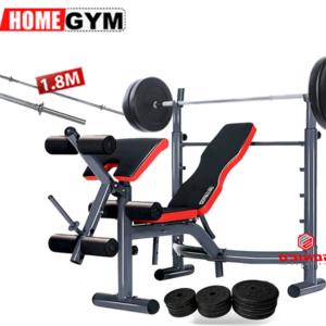 banca de ejercicios para pecho y piernas en peru con pesas y barra para entrenar en casa